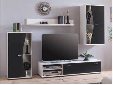 Mur TV GARETT avec rangements - Coloris : Noir & blanc