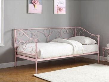Lit banquette VIVIAN - 90x200 cm - Rose