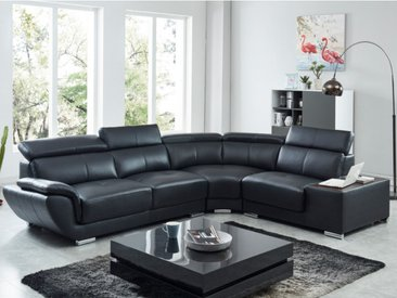 Canapé d'angle en cuir NAHIA - Noir - Angle droit