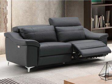 Canapé 3 places relax électrique CAROLE en cuir - Noir
