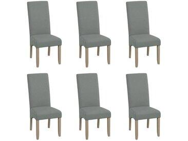 Lot de 6 chaises ROVIGO - Tissu gris- Pieds bois clair