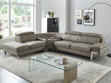 Canapé d'angle en cuir SLOANE - Taupe - Angle gauche