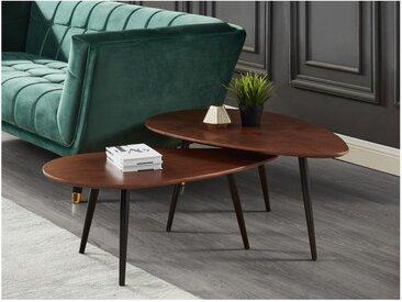 Lot de 2 tables basses gigognes MILENA - MDF & Métal - Coloris Noyer