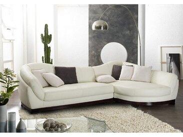 Canapé d'angle cuir de buffle 5 places CAPRI II - Ivoire - Angle droit
