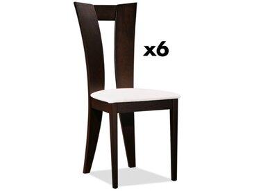 Lot de 6 chaises TIFFANY - Hêtre massif - Coloris : Wengé et blanc