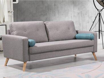 Canapé 3 places TATUM en tissu - Gris chiné