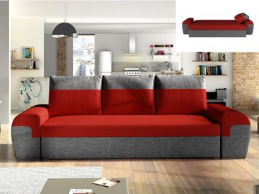 Canapé 3 places convertible GABY en tissu - Bicolore rouge et anthracite