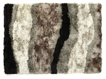 Tapis shaggy ECUME - polyester tufté main - Taupe, blanc et noir - 160x230cm