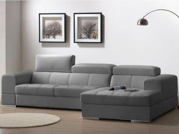 Canapé d'angle cuir XXL BALDINI II - Gris - Angle droit
