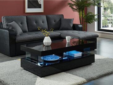 Table basse FABIO - MDF laqué noir - LEDs - 2 tiroirs & 2 niches