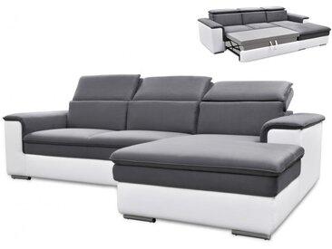 Canapé d'angle convertible en microfibre et simili CONNOR - Bicolore Blanc/gris - Angle droit