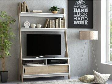 Meuble TV à étagères ESKALI - 2 portes - Blanc & Chêne