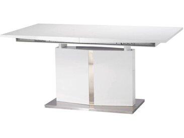 Table à manger extensible TRINITY - 6 à 8 couverts - Acier inoxydable et MDF laqué blanc