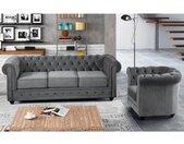 Canapé 3 places et fauteuil CHESTERFIELD - Velours gris clair