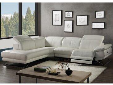 Canapé d'angle relax électrique en cuir PUNO - Blanc - Angle gauche