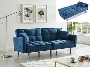 Canapé 3 places convertible clic-clac en tissu MINEY - Bleu