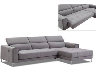 Canapé d'angle relax électrique assise coulissante en tissu LITENI - Gris clair - angle droit