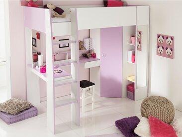Lit mezzanine GEMMA - 90x200cm - Avec bureau, rangements et armoire intégrés - Parme et Blanc