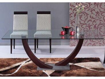 Table à manger MELODIE - 6 couverts - Verre trempé et wengé