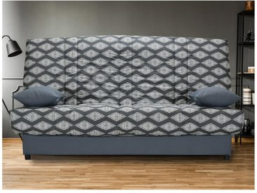 Canapé clic clac en tissu FARWEST avec coffre de rangement - Imprimé ETHNIQUE