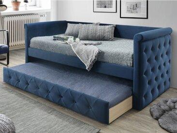 Lit banquette gigogne capitonné LOUISE - 2x90x190cm - tissu bleu