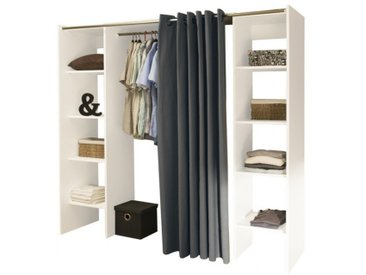 Dressing extensible EMERIC - L.112/185 cm - Blanc et anthracite