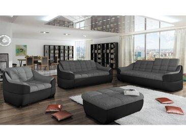 Canapé 3+2+1 places en tissu et simili FAREZ - Bicolore gris et noir