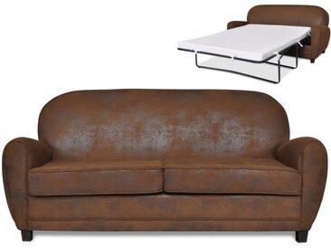 Canapé club 3 places convertible RICKY en microfibre aspect cuir vieilli