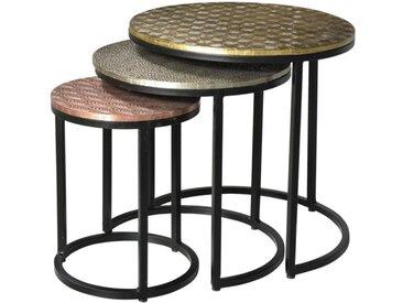 Tables basses gigognes BELAMI - Motifs sculptés - Métal - Coloris : Doré, argent, cuivre