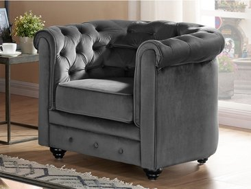 Fauteuil CHESTERFIELD - Velours anthracite