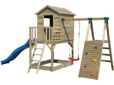 Aire de jeux en bois avec cabane, toboggan, balançoire, mur d'escalade et bac à sable TIJUCA - L497xP260xH275 cm