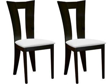 Lot de 2 chaises TIFFANY - Hêtre massif - Coloris : Wengé et blanc