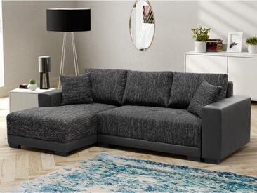 Canapé d'angle convertible en tissu et simili JARED - Bicolore anthracite et noir - Angle gauche