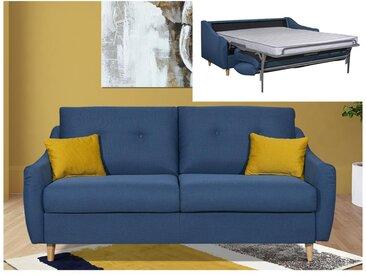 Canapé 3 places convertible express en tissu MORANE - Bleu et coussins jaunes