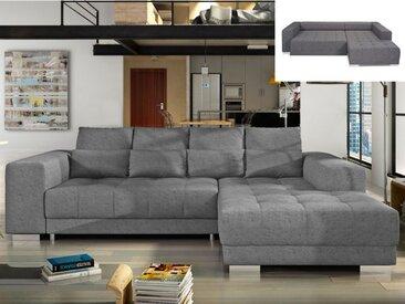 Canapé d'angle convertible en tissu KOLDA avec assise coulissante électrique - Gris - Angle droit