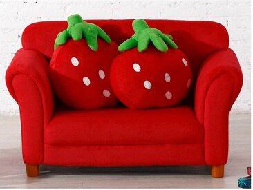 Canapé pour enfant en tissu FRAISIER avec coussins - Rouge