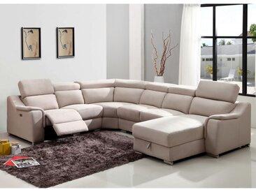 Canapé d'angle panoramique relax électrique AMADORA en tissu - Beige - Angle droit