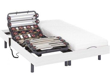 Lit électrique relaxation lattes et plots matelas latex PANDORA II de DREAMEA - moteurs OKIN - blanc - 2x70x190cm