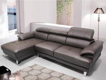 Canapé d'angle en cuir EXCELSIOR II - Marron - Angle gauche