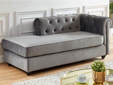 Méridienne droite chesterfield SHIREL en velours - Gris