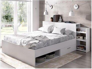 Lit FLORIAN avec tête de lit rangements et tiroirs - 140x190cm - Coloris : Blanc