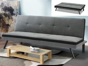 Canapé clic clac en tissu SKALA - Gris et bande noire