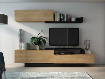 Mur TV MONTY avec rangements - Coloris chêne & anthracite