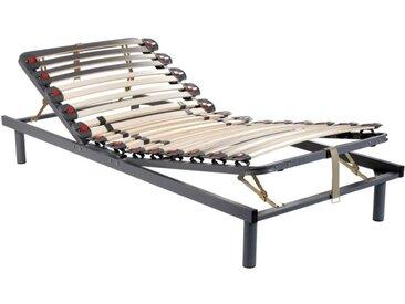 Sommier de relaxation manuel monté sur tenons, 3 plans de couchage, fermeté réglable par curseurs - 80 x 200 cm