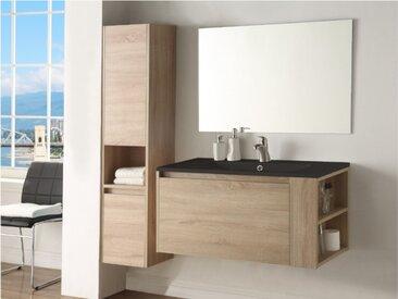 Ensemble BEHATI - meubles de salle de bain - Effet bois et noir