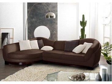 Canapé d'angle cuir de buffle 5 places CAPRI II - Marron - Angle gauche