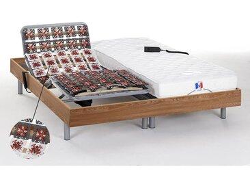 Lit électrique relaxation tout plots matelas 100% latex HOMERE III de DREAMEA - moteurs OKIN - chêne naturel - 2 x 80 x 200 cm