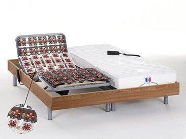 Ensemble relaxation tout plots 100% latex HOMERE III de DREAMEA - chêne naturel - 2x80x200cm - moteurs OKIN