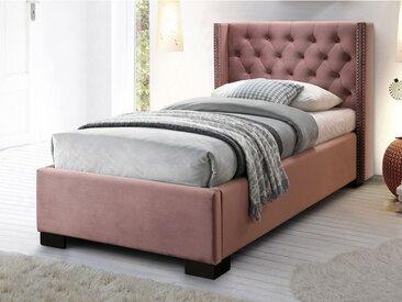 Lit MASSIMO tête de lit capitonnée - 90x200cm - Velours rose