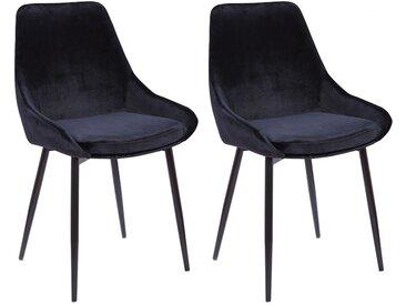 Lot de 2 chaises MASURIE - Velours - Noir